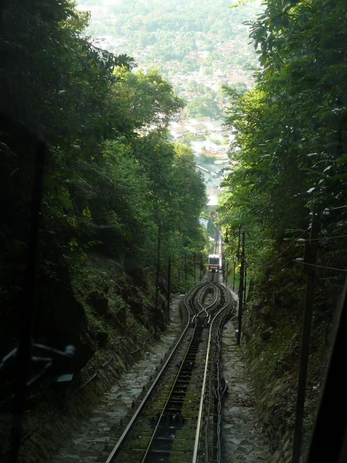 On the funicular railway on my way up to the hill. The trip up takes about 30 min.